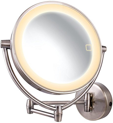 Ovente Wall Mount Mirror with 3 LED Lighting Tones (Daylight, Cool, Warm), 9.5 Inch, Battery or Cord Operated, 1x/10x Magnification, Nickel Brushed - Cool Warm And Skin Tones