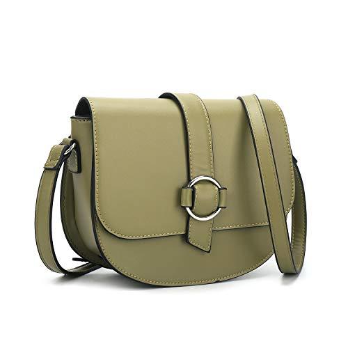 (Crossbody Bag for Women Small Saddle Purse Green Satchel Shoulder Bag and Tote Handbag)