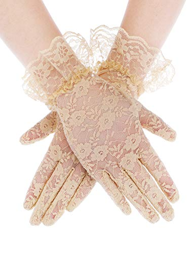 SATINIOR Ladies Lace Gloves Elegant Short Gloves Courtesy Summer Gloves for Wedding Dinner Parties (Skin Color 1)