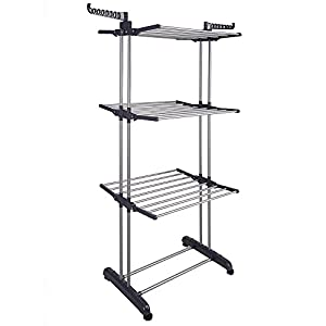 Yescom Rolling Collapsible Clothes Drying Rack 3-Tier Foldable Laundry Dryer Hanger Airer Compact Storage Steel