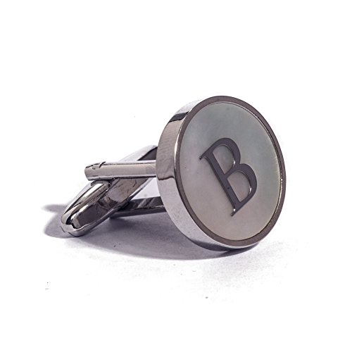 Digabi Initial Letter Cufflinks 18K White Gold Mother of Pearl B (White 18ct Gold Plate)