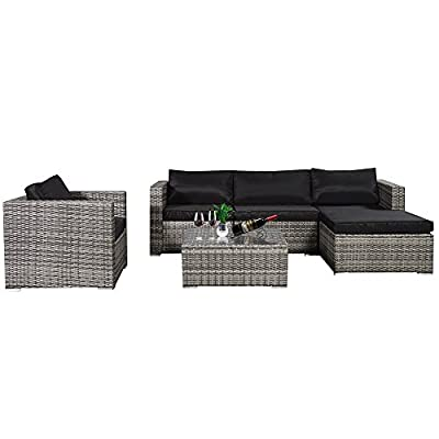 Cloud Mountain Outdoor Sectional 6 Piece Wicker Resin Outdoor Furniture Sofa Set Mix Gray Ergonomic Comfortable Modern Easy Assembly Patio Lawn Garden Backyard Pool with Thick Black Cushions - ⭐MODERN & ERGONOMIC DESIGN: This 6 piece yard furniture is carefully designed complex weave patterns for added strength and durability. We increased the width of armrest to provide better experience, and the armrest is wider than the other outdoor sectional sofas on market. ⭐PREMIUM HANDCRAFTED: Our 6 piece wicker patio furniture set is crafted with rust-resistant strong steel frame with durable and weather-resistant synthetic wicker for years of use. 180g polyester cover and 800g vertical cotton with zipper make you more comfortable. Tempered glass top coffee table makes store drinks, wine, snacks easily and durably. Anchor your outdoor entertainment ensemble with this six-piece lounge sectional so you can fit up at your next backyard clambake. ⭐COMFORT & FUNCTION: Created with relaxation and coziness in mind, this wicker patio furniture comes with generous sized thick sponge padded seat cushions and back cushions. It's versatile design allows it to be rearranged into different configurations for your occasion. Also this patio conversation set offering a coffee table for your drinks and more! - patio-furniture, patio, conversation-sets - 41KoDO1SfoL. SS400  -