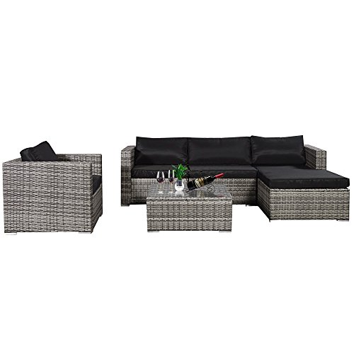 Cloud Mountain Outdoor Sectional 6 Piece Wicker Resin Outdoor Furniture Sofa Set Mix Gray Ergonomic Comfortable Modern Easy Assembly Patio Lawn Garden Backyard Pool with Thick Black Cushions