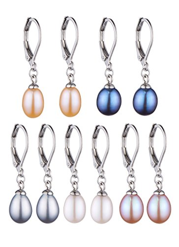 Set of 5 Freshwater Cultured Drop Pearl Earrings White,Grey,Peach,Pink,Peacock Pearl Earrings with Stainless Steel Leverback (7-8mm)