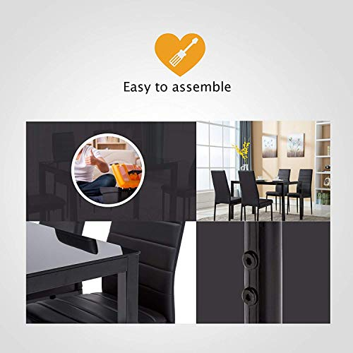Mecor 7pcs Dining Table Set 6 Chairs Glass Metal Kitchen: 4Family 5PC Dining Table Set 4 Chairs Glass Metal Kitchen