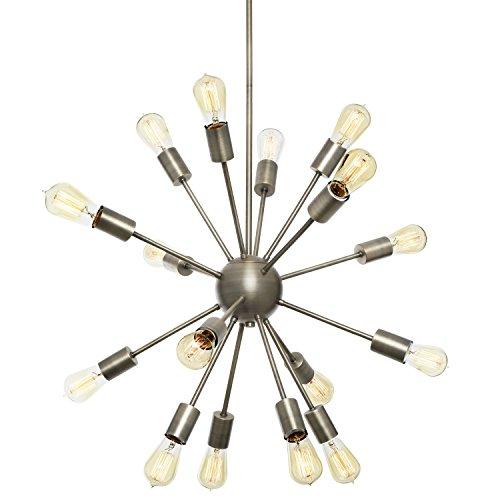 Pewter Round Pendant - 16-Light Pewter Sputnik Pendant - Modern Hanging Ceiling Light, 22 Inch Diameter Medium Chandelier, ETL Listed