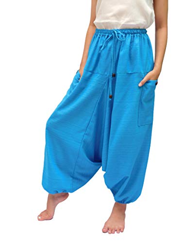 ChiangmaiThaiShop 100% Cotton Baggy Boho Aladin Yoga Harem Pants (S-XL for Waist for 26