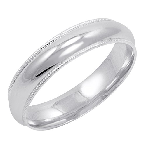 Men's 10K White Gold 5mm Comfort Fit Milgrain Wedding Band (Available Ring Sizes 8-12 1/2) Size ()