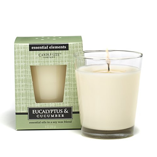 CANDLE-LITE Essential Elements 9-Ounce Boxed Jar Candle with Soy Wax, Eucalyptus and Cucumber