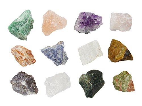 Mineralien Rohsteine Edelsteine Sammlung 12 Stück im einzelen benannt z.B. Rosenquarz Bergkristall Amethyst uva.