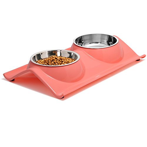 UPSKY Dog Bowls Elevated Dog Cat Bowls Double Premium Stainless Steel Pet Bowls with No, Spill Resin Station Pet Food Water Feeder, Rose Red