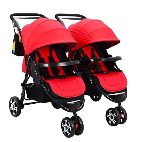 TZZ Double Baby Stroller, Jogging Stroller, Twin Tandem Umbrella Stroller with Adjustable Backrest, Footrest, 5 Points Safety Belts, Foldable Design for Newborn and Toddler (Color : Red)