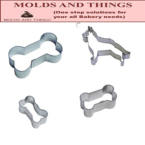 Doggie Treat Tin Cookie Cutter 4 Pc Kit - German Shepherd Cookie cutter