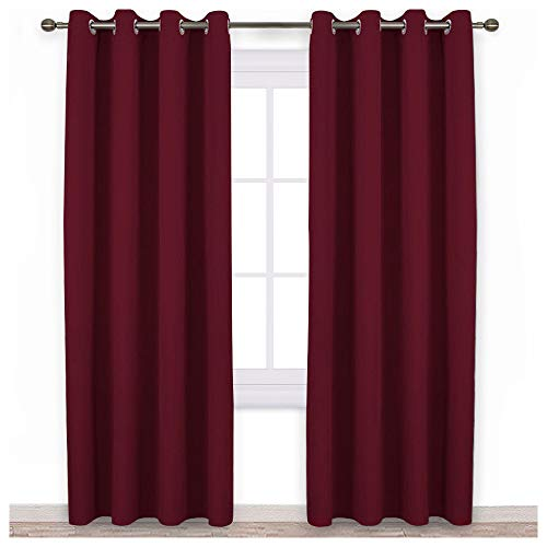 NICETOWN Ruby Red Blackout Draperies Curtains - Pair of Grommet Top Thermal Insulated Blackout Decorative Curtains for Thanksgiving Day & Christmas Decor(52 Inch Wide by 95 Inch Long)