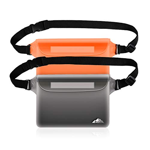 Dry Waist Pouch - HEETA 2-Pack Waterproof Pouch with Waist Strap, Transparent Screen Touchable Dry Bag with Adjustable Belt for Phone Valuables for Swimming Snorkeling Boating Fishing Kayaking (Orange & Grey, L)