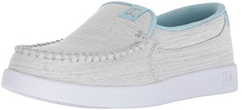 DC Women's Villain TX SE Skate Shoe, Light Grey/Blue, 6 B US