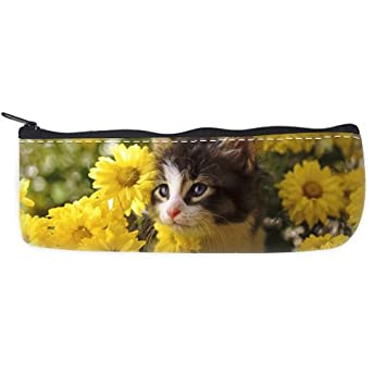Cat Kitten Sunflowers Wallpaper Pencil Case Bag Amazon Co Uk