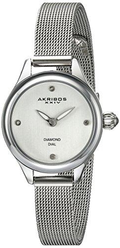 Akribos XXIV Women's AK873SS Silver-Tone Watch with Diamond Markers Petite Diamond Ladies Watch