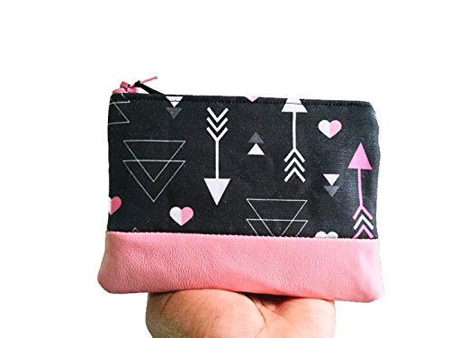 Hearts and Arrows Leather Pouch, Small Wallet, Leather Coin Purse, Black Wallet, Zipper Pouch, Change Wallet