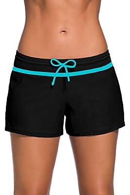 Aleumdr Womens Side Split Waistband Swim Shorts with Panty Liner Plus Size S - 3XL