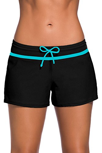 Aleumdr Womens Color Block Wide Waistband Swim Shorts Trunks Tankini Bottoms Boyshort Swimsuit Panty Medium Size Black Bottom Blocks