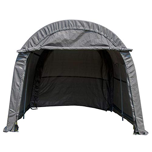 WALCUT Portable Heavy Duty Carport, Car Canopy Garage Storage Shelter for Patio Outdoor, Gray 10x10x8ft, Round Top