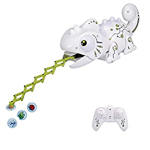 Goolsky RC Chameleon Toy Multi Colored Lights Extendable Tongue Bug Catching Action Multi-Directional Remote Control…