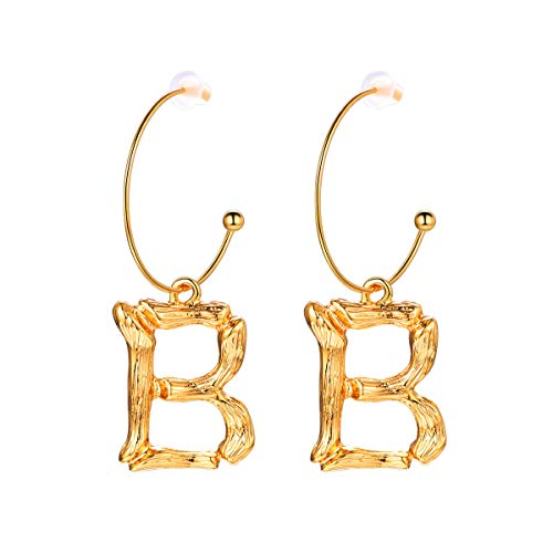 - Letter Earrings Semi-Hoop Drop Dangle Capital Alphabet Small Charms Hypoallergenic Fashion Jewelry Open Half Circle Round Wire 18K Gold Plated Metal Alloy Bamboo Initial Earrings for Women Girls(B)