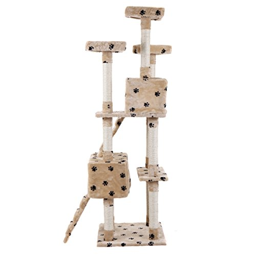 LAZYMOON 67'' Cat Tree 4-Tier Tower Condo Play House Furniture w/ Scratching posts and Toy Mouse Beige with Footprint by LAZYMOON (Image #7)
