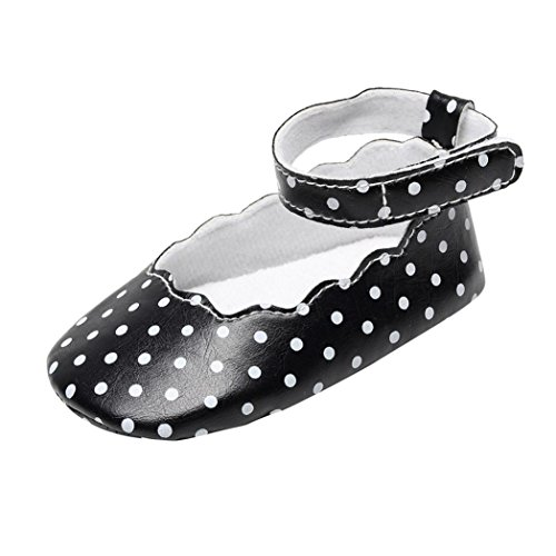 LNGRY Shoes,Toddler Kids Baby Girls Summer Polka Dot Floral Edge Soft Sole First Walkers Crib Shoes (0-3 Months, (Black Polka Dot Sandals)