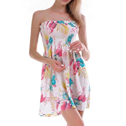 DOGZI Vestido Mujer Verano Mini Vestido Casual sin Mangas de Playa de Impresión Retro de Mujeres Vestido de Playa Niña Vestido de Fiesta Vestir Ropa Falda Chaleco Camisetas Blanco