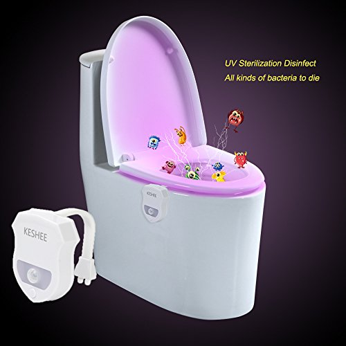 KESHEE UV Sterilization disinfect Motion Activated Toilet Night Light 16 Color Changing Led Toilet Seat Light