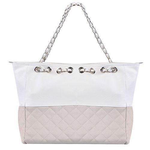 Bolso de las señoras - All4you gran tamaño bolso de hombro con cadena Straps(Grey) Gris