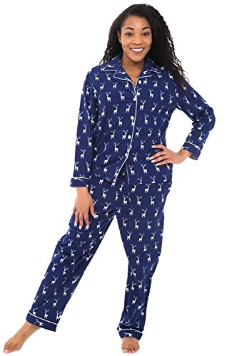 Alexander Del Rossa Womens Flannel Pajamas, Christmas Theme Cotton Pj Set, Small Reindeer on Navy Blue (A0509Q80SM) (Reindeer Flannel)