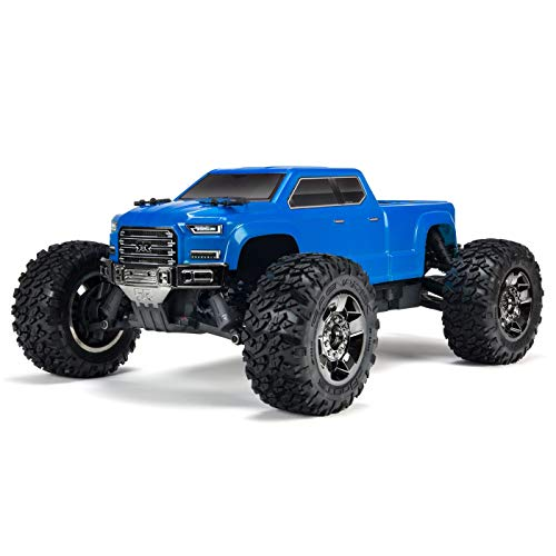 (ARRMA Big Rock Crew Cab 4x4 RC Monster Truck 3S BLX 4WD RTR with 2.4GHz Radio (Battery Not Included) 1:10 Scale, Blue )
