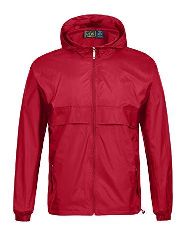 SWISSWELL Men's Lightweight Rain Jacket Waterproof Hooded Rainwear Red
