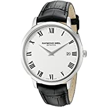 Raymond Weil Men's 'Toccata' Swiss Quartz Stainless Steel and Leather Watch, Color:Black (Model: 5588-STC-00300)