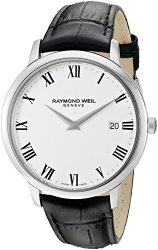 (Raymond Weil Men's 'Toccata' Swiss Quartz Stainless Steel and Leather Watch, Color:Black (Model: 5588-STC-00300))