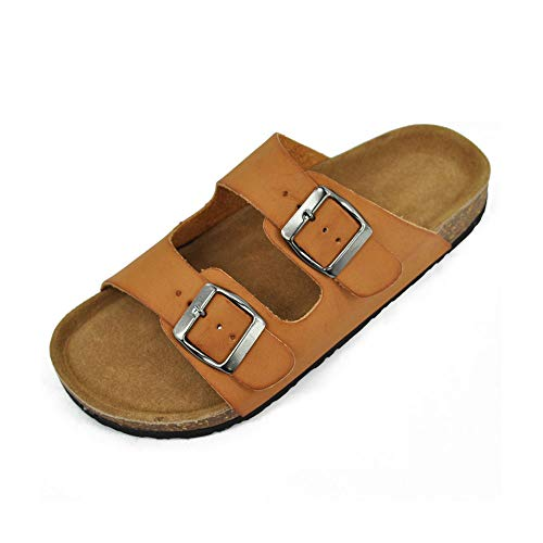 The Right Pair Women's Buckled Slip On Flat Sandals Open Toe Casual Cork Footbed Platform Slide Shoes LEO03 Tan 5.5