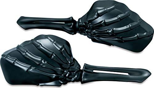 (Kuryakyn 1758 Motorcycle Handlebar Accessory: Skeleton Hand Rear View Side Mirrors, Black Stems/Black Heads, 1 Pair)
