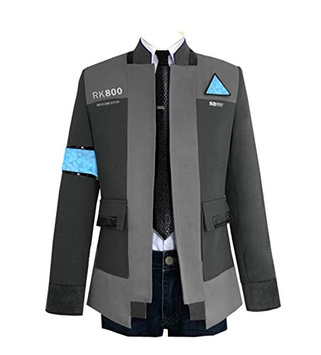 Temple Bar Detroit Halloween (COSFLY Game Become Human Connor Jacket Cosplay Costume Men Coat Uniform Suit Small, Grey 2 (Coat +)