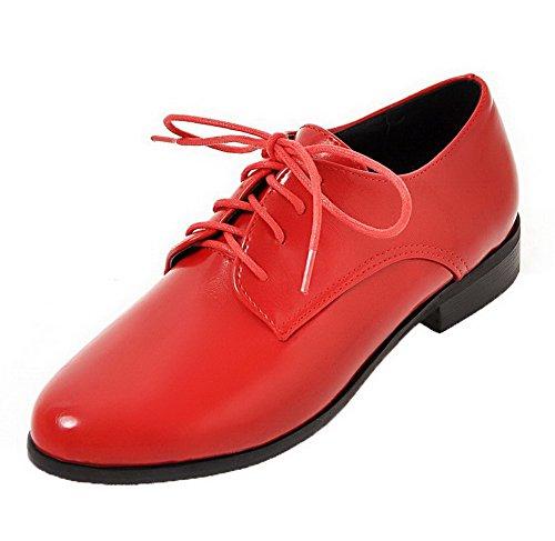 Allhqfashion Mujeres Pu De Tacones Bajos Con Cordones Puntiagudos Bombas-zapatos Rojo