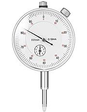 ueetek mecánica reloj comparador Sonda pantalla Esfera prueba Rango de medición 0–10mm Dial Prueba Indicador (Plata)