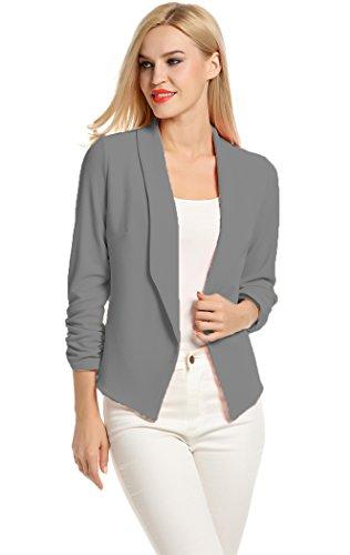 POGT Women 3/4 Sleeve Blazer Open Front Cardigan Jacket Work Office Blazer (S, Dark Gray) -