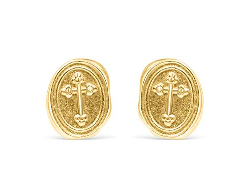 ONDAISY 14k Matte Gold Plated Lucky Gypsy Vintage Round Circle Coin Celtic Horizontal Gothic Sideways Cross Sensitive Ears Studs Post Earrings For Women Teen Girls Children Men Jewelry Hypoallergenic