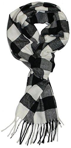 Veronz Soft Classic Cashmere Feel Winter Scarf, Black/White Buffalo Checks (Check Buffalo Scarf)