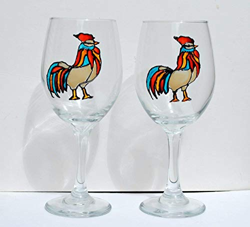 Multi-Colored Rooster Hand Painted Stemmed 20 oz. Wine Glasses (Set of 2), Kitchen Decor