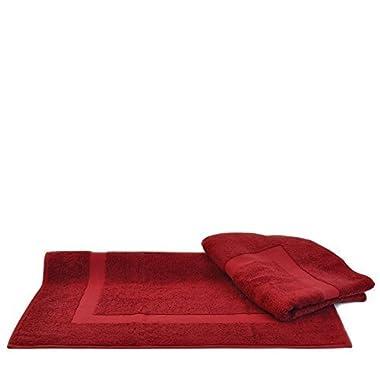 100% Genuine Turkish Cotton Luxury Hotel & Spa Bath Mat (Set of 2) (Large Bath Mat - Set of 2, Cranberry)