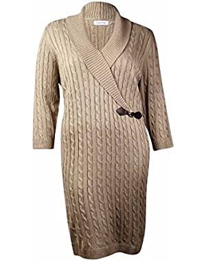 Calvin Klein Women's Metallic Cable Shawl Sweater Dress (3X, Khaki/Gold)