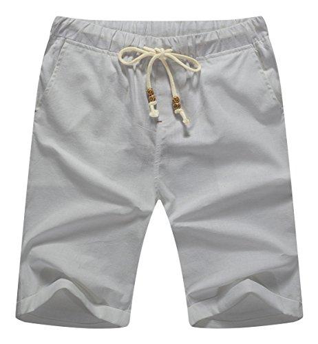 NITAGUT Men's Linen Casual Classic Fit Short Light Gray S ()